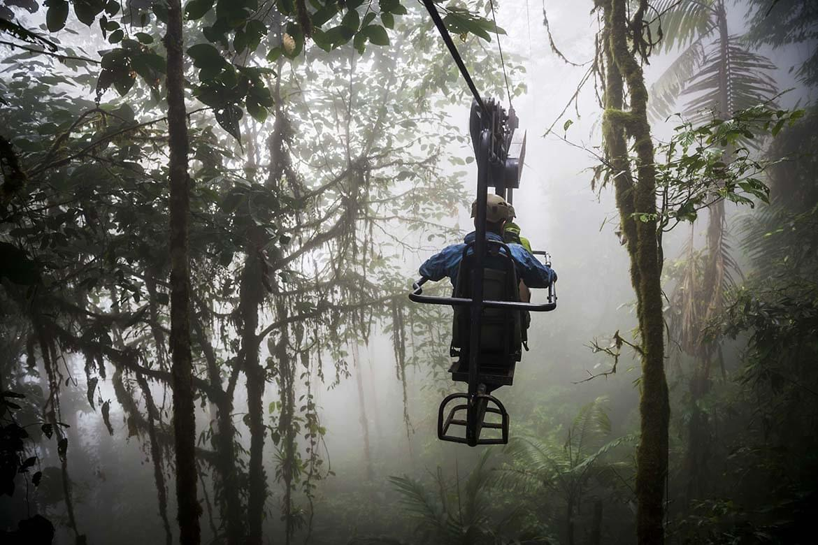 Ecuador. Mashpi Lodge Sky Bike on a misty morning in the Choco Rainforest, an area of Cloud Forest in the Pichincha Province of Ecuador, South America