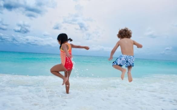 Kids Playing in Ocean