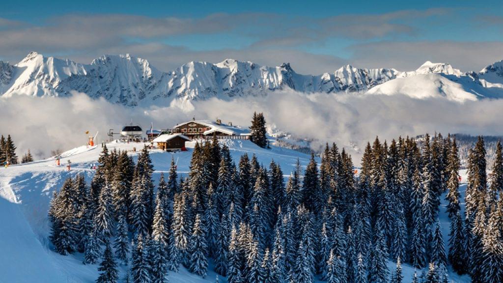 Ski Restaurant on the Mountain Peak near Megeve
